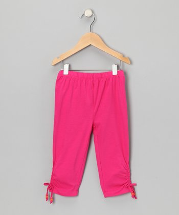 Fuchsia Cinched Capri Pants - Toddler & Girls