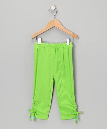Green Cinched Capri Pants - Toddler & Girls