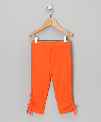 Orange Cinched Capri Pants - Toddler & Girls