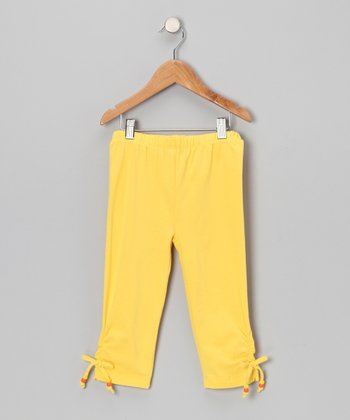 Yellow Cinched Capri Pants - Toddler & Girls