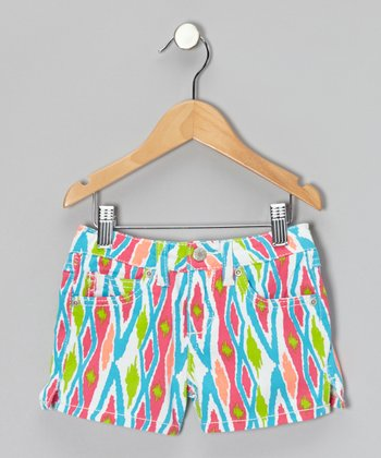 White Ikat Shorts - Girls