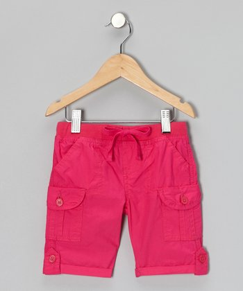 Fuchsia Ribbed Bermuda Shorts - Toddler & Girls
