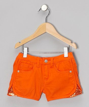 Ripe Orange Sequin Side Shorts - Girls