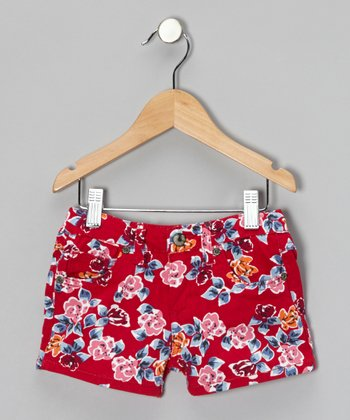Cranberry Floral Shorts - Girls