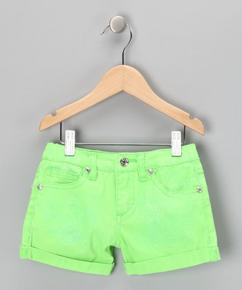 Green Glitter Shorts - Girls