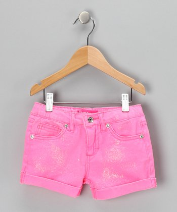 Pink Glitter Shorts - Girls