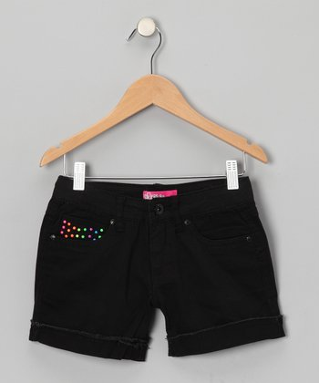 Black Neon Stud Shorts