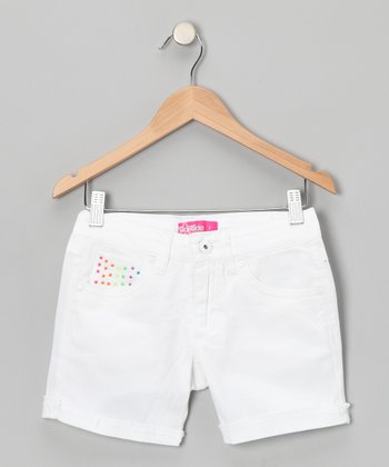 White Neon Stud Shorts