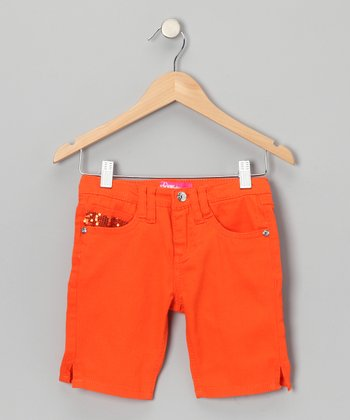 Orange Sequin Bermuda Shorts - Girls