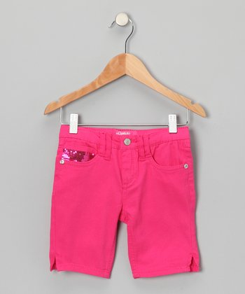 Pink Sequin Bermuda Shorts - Girls