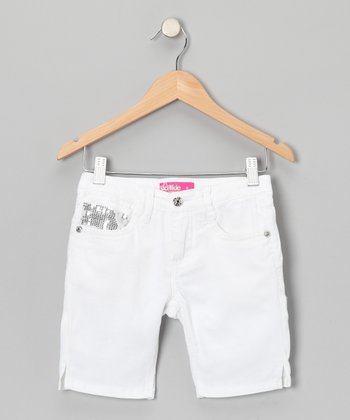 White Sequin Bermuda Shorts - Girls