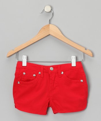 Bright Red Rhinestone Shorts - Girls