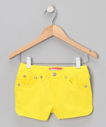 Neon Yellow Rhinestone Shorts - Girls