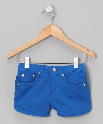 Royal Blue Rhinestone Shorts - Girls