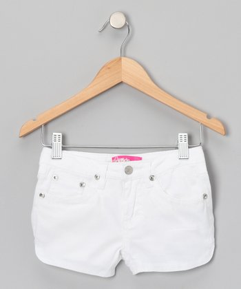White Rhinestone Shorts - Girls