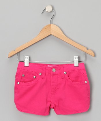 Fuchsia Rhinestone Shorts - Girls