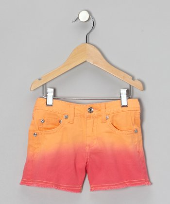 Cantaloupe & Hot Pink Dip-Dye Shorts - Girls