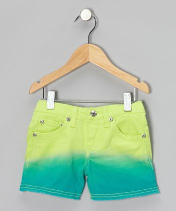 Lime & Turquoise Dip-Dye Shorts - Girls