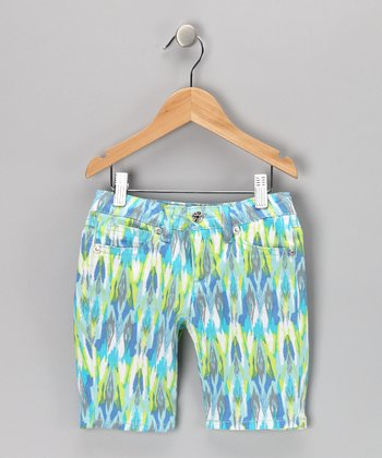 Blue Tribal Bermuda Shorts - Girls