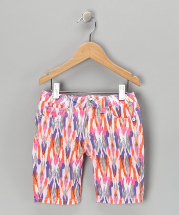 Pink Tribal Bermuda Shorts - Girls
