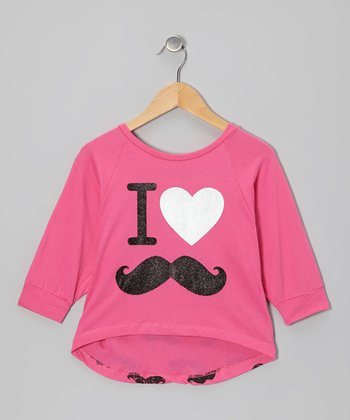 Shocking Pink Mustache Dolman Top