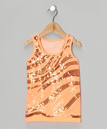 Light Neon Orange Stripe Sequin Racerback Tank - Girls