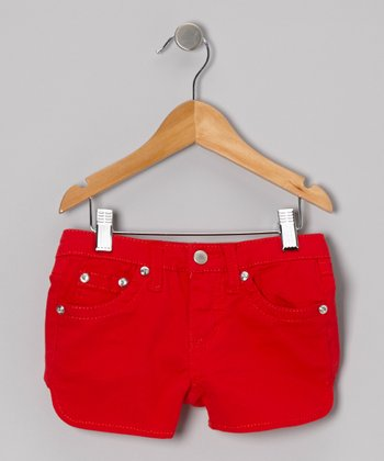 Bright Red Twill Rhinestone Shorts - Girls