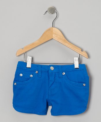 Royal Blue Twill Rhinestone Shorts - Girls