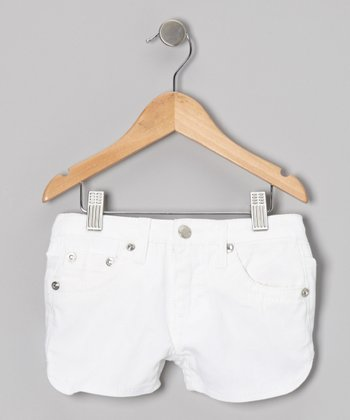 White Twill Rhinestone Shorts - Girls