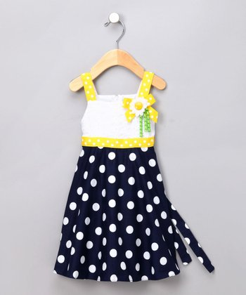 Navy & White Polka Dot Babydoll