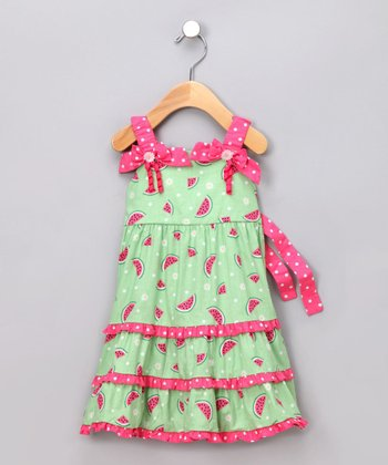 Green & Pink Watermelon Dress