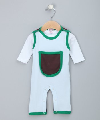 Light Blue & Green Tee & Overalls - Infant