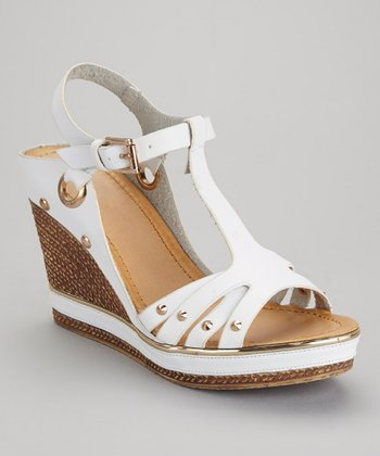 White Carissa-02 Wedge Sandal