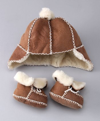 Brown Shearling Hat & Booties