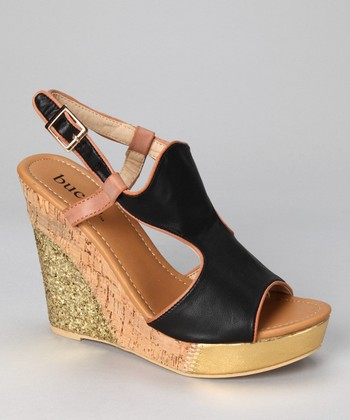 Black Althea Wedge Sandal