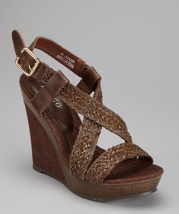 Brown Ariel Wedge Sandal
