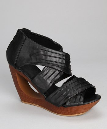 Black Delphia Wedge Sandal