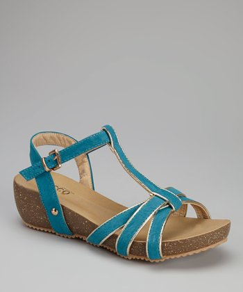 Blue Edna Wedge Sandal