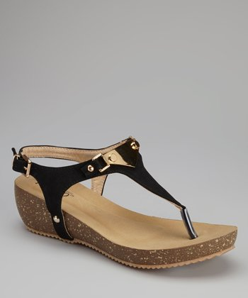 Black Eusta Wedge Sandal