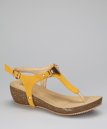 Yellow Eusta Wedge Sandal