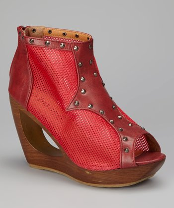 Deep Red Pacha Mesh Peep-Toe Wedge