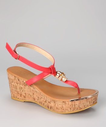 Coral Waverly Wedge