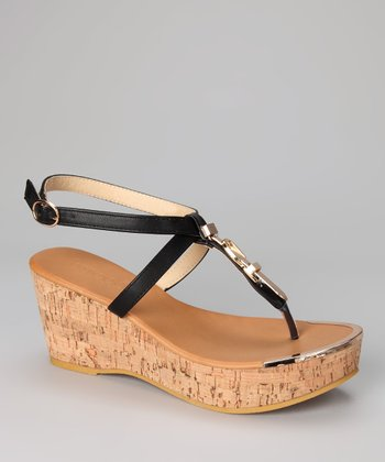 Black Whitley Wedge Sandal