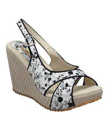 White Ditzy Slingback Wedge