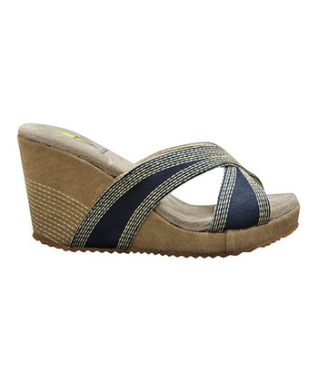 Navy Lanelines Wedge Slide