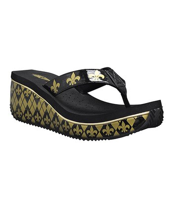 Black & Gold Treme Wedge Sandal