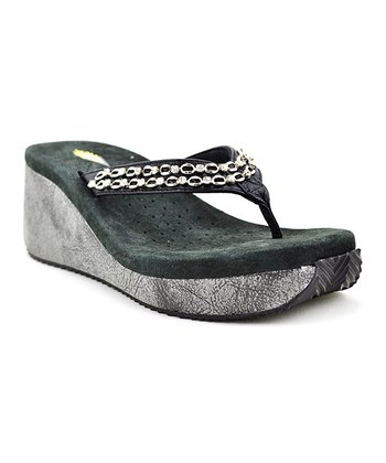 Black Trinket Wedge Sandal