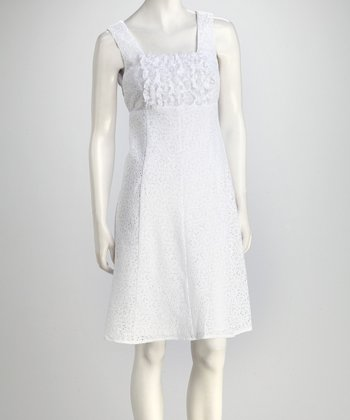 White Ruffles & Lace Shift Dress