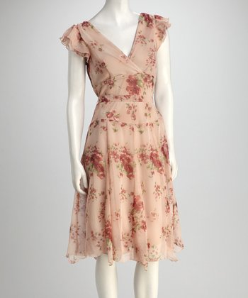 Rose Floral Angel-Sleeve Dress