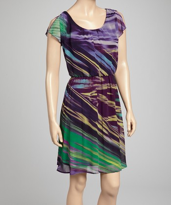 Green & Purple Split-Sleeve Dress